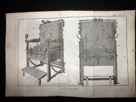 Diderot C1785 Folio Antique Print. Chirurgie 03 Medical Chairs